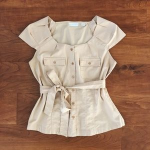Utility Button-Up Top with Tie Waist